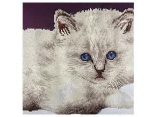 beading & jewelry making supplies: Diamond Art Kit 12 x 12 in. White Cat