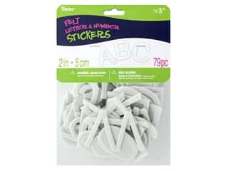 Darice Felties Sticker Alpha/Number White 79 pc