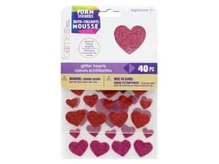 craft & hobbies: Darice Foamies Sticker Glitter Hearts 40 pc