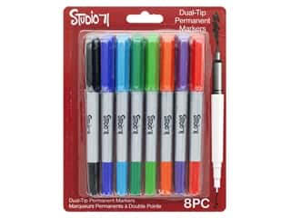 craft & hobbies: Darice Studio 71 Marker Perm Dual Tip Basic 8 pc