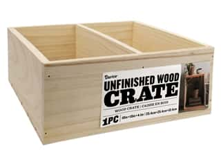 decorative box: Darice Unfinished Wood Divided Crate 10 x 10 in.