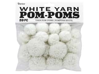 craft & hobbies: Darice Pom Poms Yarn 1 in. to 1.5 in. White 20 pc