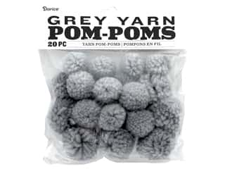 Darice Pom Poms Yarn 1 in. To 1.5 in. Grey 20 pc