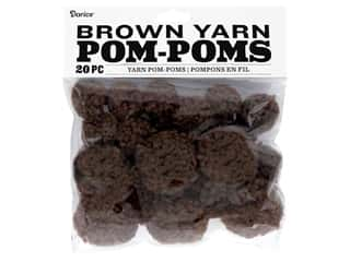 craft & hobbies: Darice Pom Poms Yarn 1 in. To 1.5 in. Brown 20 pc
