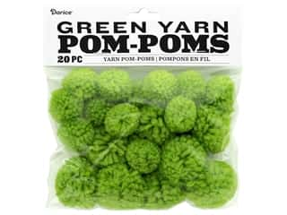 Darice Pom Poms Yarn 1 in. To 1.5 in. Green 20 pc