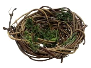 decorative floral: Darice Vine Bird Nest with Moss 3 in.