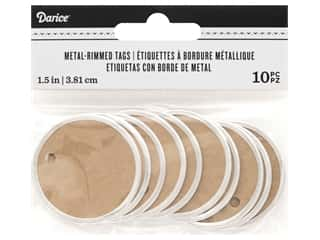 Darice Metal Rim Tags 1 1/2 in. Kraft/Silver 10 pc.