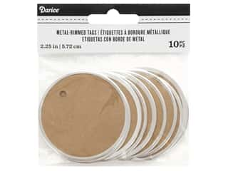 twine: Darice Decor Tag Metal Rimmed Large Kraft/Silver 10 pc