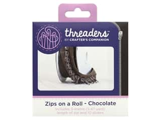 Crafter's Companion Threaders Zips On A Roll Chocolate