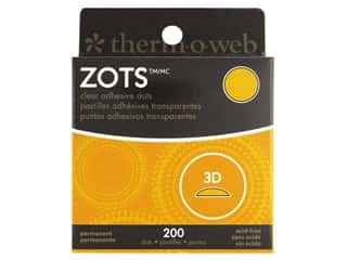 glues, adhesives & tapes: Therm O Web Zots Clear Adhesive Dots 200 pc. 1/2 x 1/8 in. Singles 3D