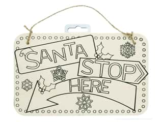 craft & hobbies: Darice Color In Wood Sign Santa Stop Here