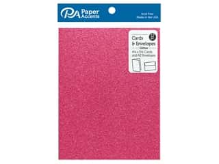 Paper Accents 4 1/4 x 5 1/2 in. Blank Card & Envelopes 12 pc. Glitter Rose