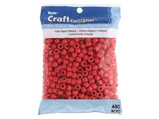 Darice Pony Beads 6 x 9 mm 480 pc. Opaque Red
