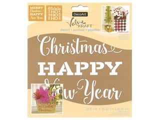 craft & hobbies: DecoArt Stencil Value Kraft 8 in. x 8 in. Christmas Holiday Cheer