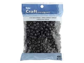 beading & jewelry making supplies: Darice Pony Beads 6 x 9 mm 480 pc. Opaque Black
