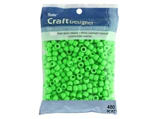 beading & jewelry making supplies: Darice Pony Beads 6 x 9 mm 480 pc. Opaque Lime