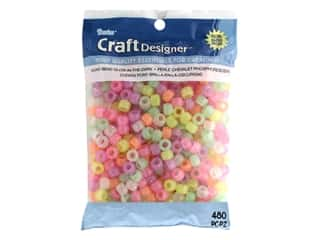beading & jewelry making supplies: Darice Pony Beads 6 x 9 mm 480 pc. Glow-in-the-Dark Pastel