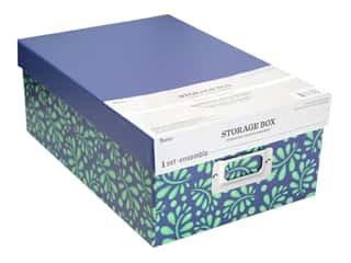 craft & hobbies: Darice Organizer Storage Photo Box 7.5 in. x 4 in. x 11 in. Vines Blue/Green