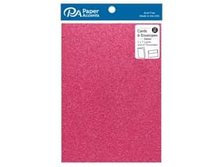 scrapbooking & paper crafts: Paper Accents 5 x 7 in. Blank Card & Envelopes 12 pc. Glitter Rose