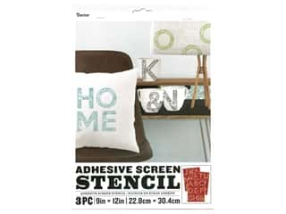 craft & hobbies: Darice Adhesive Screen Stencil 9 x 12 in. Floral Letter