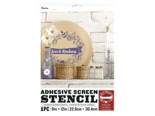 craft & hobbies: Darice Adhesive Screen Stencil 9 x 12 in. Floral Banner