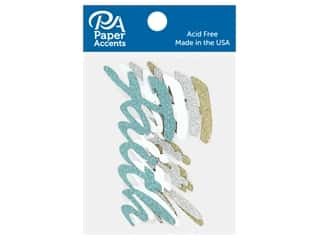 scrapbooking & paper crafts: Paper Accents Glitter Shape Words Faith Gold, Silver, White, Blue 4 pc
