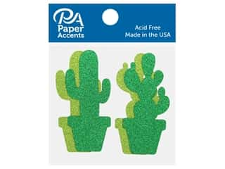 scrapbooking & paper crafts: Paper Accents Glitter Shape Cactus Olive Green, Green 8 pc
