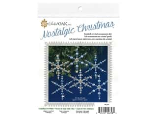 craft & hobbies: Solid Oak Kit Beaded Ornament Snowflakes Crystal/Blue
