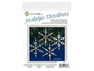 beading & jewelry making supplies: Solid Oak Kit Beaded Ornament Snowflakes Crystal/Gold