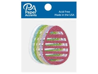 Paper Accents Glitter Shape Small Egg Stripe Gold, Lavender, Green, White, Blue, Pink 6 pc