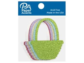 scrapbooking & paper crafts: Paper Accents Glitter Shape Basket Gold, Lavender, Green, White, Blue, Pink 8pc