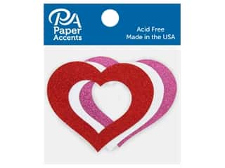 Paper Accents Glitter Shape Heart Cutout Red, White, Rose 6 pc