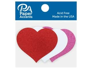 scrapbooking & paper crafts: Paper Accents Glitter Shape Large Heart Red, White, Rose 8 pc