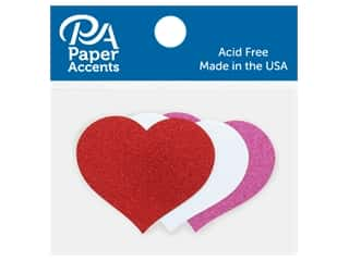 scrapbooking & paper crafts: Paper Accents Glitter Shape Small Heart Red, White, Rose 8 pc