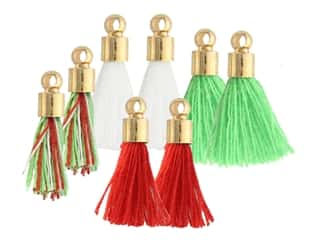 Jesse James Embellishments Tassels Tiny Red, Green, White