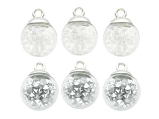 Jesse James Embellishments Bubble Ball Christmas Ornaments Silver & White