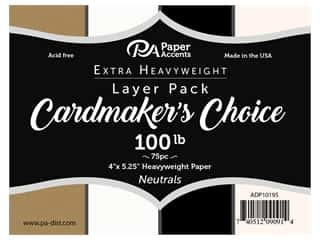 Paper Accents Cardstock Pack Cardmakers Choice 4 in. x 5.25 in. 100 lb Neutral 75 pc Layer Pack