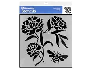 craft & hobbies: PA Essentials Stencil 12 x 12 in. Peony and Bee