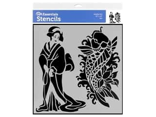 craft & hobbies: PA Essentials Stencil 12 x 12 in. Geisha Koi