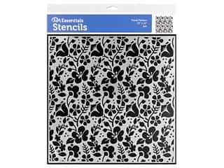 craft & hobbies: PA Essentials Stencil 12 x 12 in. Floral Pattern