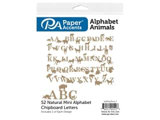 Paper Accents Chip Shape Alphabet Animal 52pc Natural