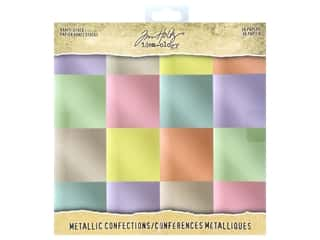 metallic shimmer card stock: Tim Holtz Idea-ology Paper Stash 8 in. x 8 in. Metallic Confections