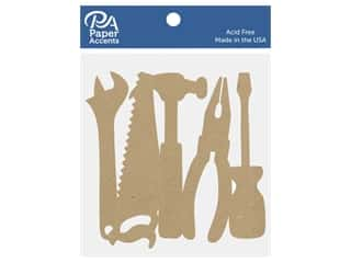scrapbooking & paper crafts: Paper Accents Chipboard Shape Tools 5 pc. Natural