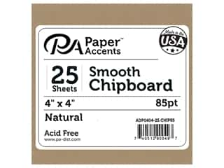 scrapbooking & paper crafts: Paper Accents Chipboard 4 x 4 in. 85 pt. 2X Heavy Natural 25 pc.