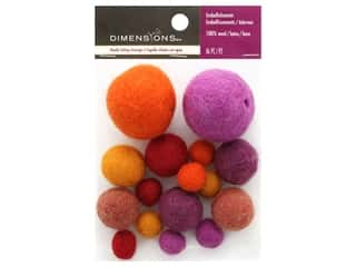 Orange felt: Dimensions 100% Wool Felt Embellishment Ball Warm Assortment