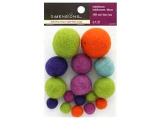 Orange felt: Dimensions 100% Wool Felt Embellishment Ball Bright Assortment