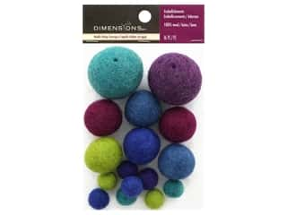 yarn & needlework: Dimensions 100% Wool Felt Embellishment Ball Cool Assortment
