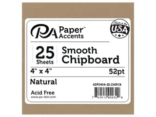 Paper Accents Chipboard 4 x 4 in. 52 pt. Extra Heavy Natural 25 pc.