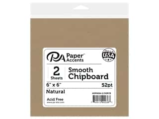 scrapbooking & paper crafts: Paper Accents Chipboard 6 x 6 in. 52 pt. Extra Heavy Natural 2 pc.
