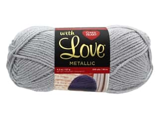 yarn: Coats & Clark Red Heart With Love Yarn Metallic 4.5 oz Light Grey